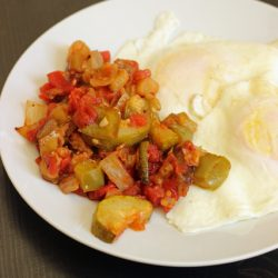 A plate full of eggs, with Ratatouille