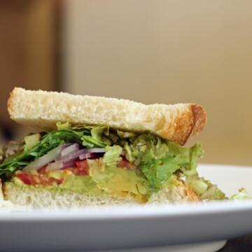 half a Salsa and Avocado sandwich