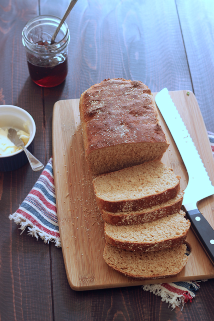 "Whole Wheat English Muffin Bread - Homemade baked goods are significantly cheaper than store-bought varieties. Try this whole wheat bread that mimics an ""English muffin"" in texture and taste."