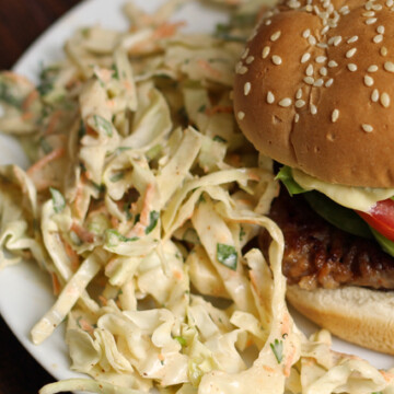 A close up of a burger on a plate, with Coleslaw