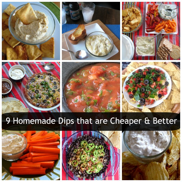 collage of different homemade dips