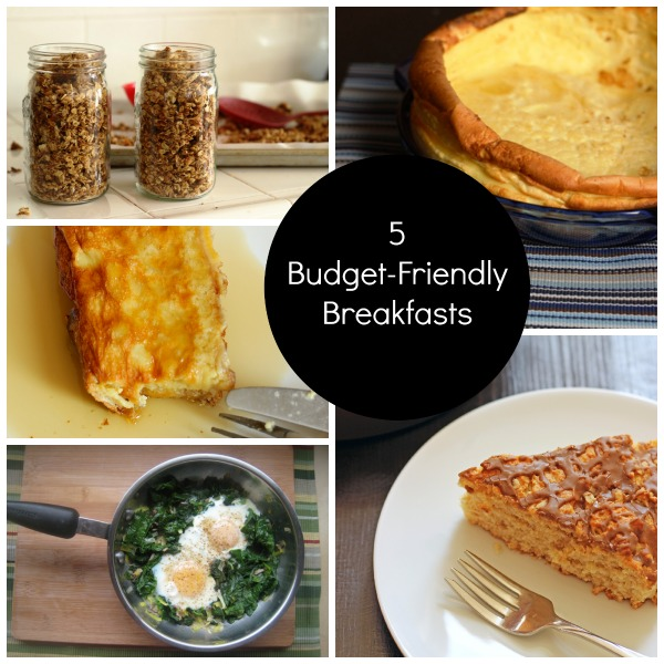 a collage of budget-friendly breakfasts