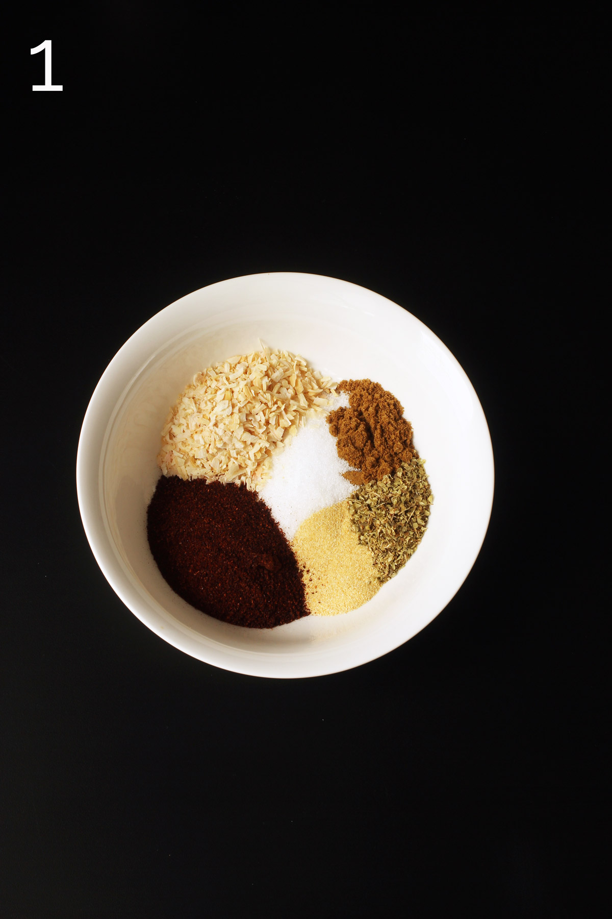 ingredients measured out into small white bowl.