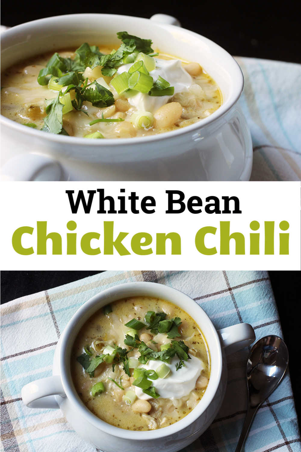 collage of bowls of white bean chicken chili