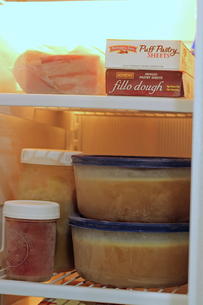 gravy stock and pastry on freezer shelves