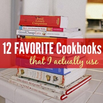 stack of cookbooks on counter