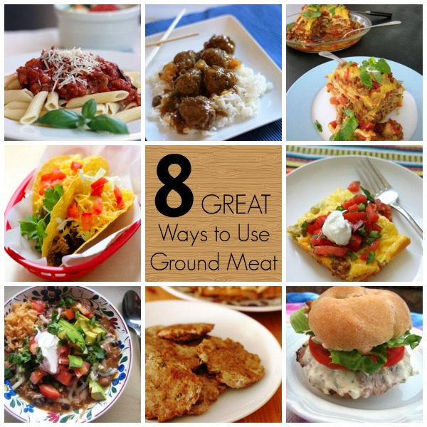 8 Ways to Use Ground Beef or Turkey from GoodCheapEats.com | Ground meat can make so many versatile and freezer-friendly meals. If you need some inspiration on how to use ground beef, check out these recipes for meatballs, pasta sauce, chili, tacos, sausage patties, turkey egg bake, burgers, and chili stacks..