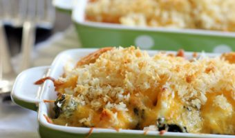 green dishes of chicken curry casserole