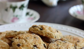 A close up of a plate of Scones