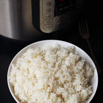 bowl of rice next to instant pot