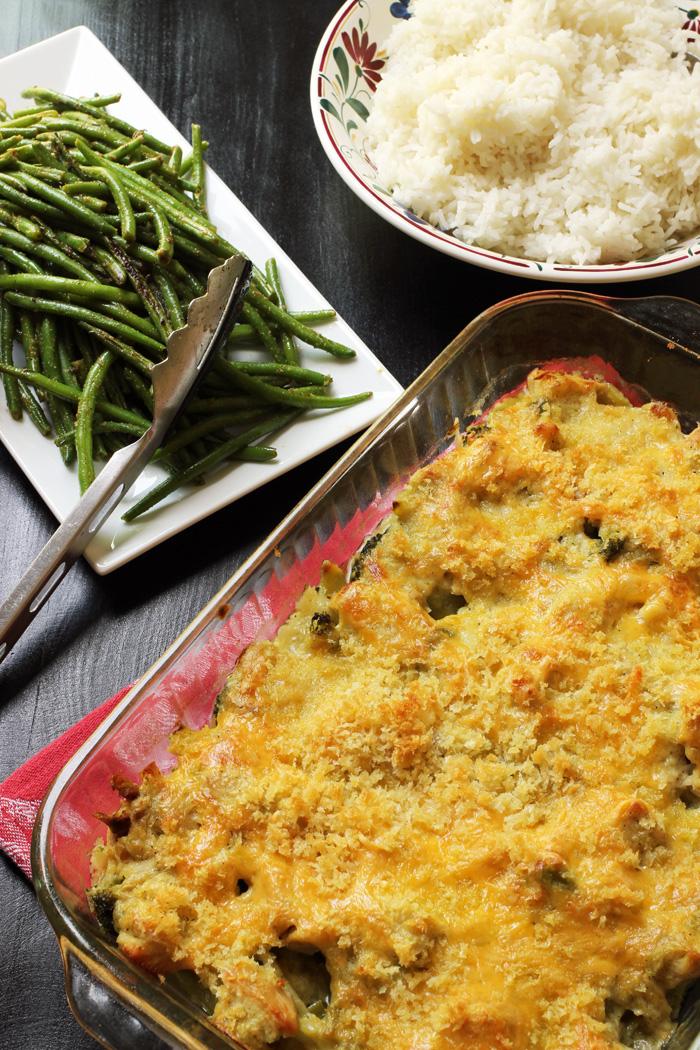 dinner of chicken curry casserole