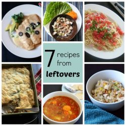 7 Meals That Started as Leftovers | Try one of these easy recipes that turn leftovers into a new meal -- Beans & Rice Soup, Chicken Fried Rice, Creamy Turkey Enchiladas, Chicken Salad Wraps, Turkey Pot Pie, Cream Noodles with Ham and Tomato, and Stone Soup.