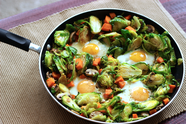 Eggs and Sweet Potato Hash with Brussels Sprouts and Mushrooms