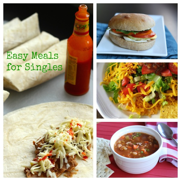 collage of easy meals for singles