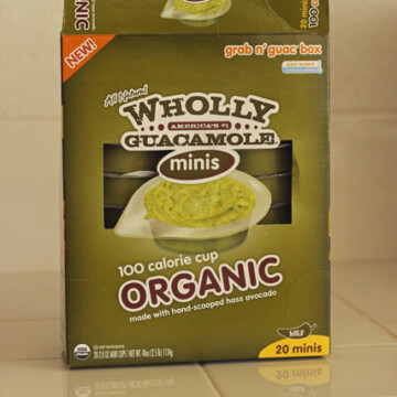 box of wholly guacamole on counter