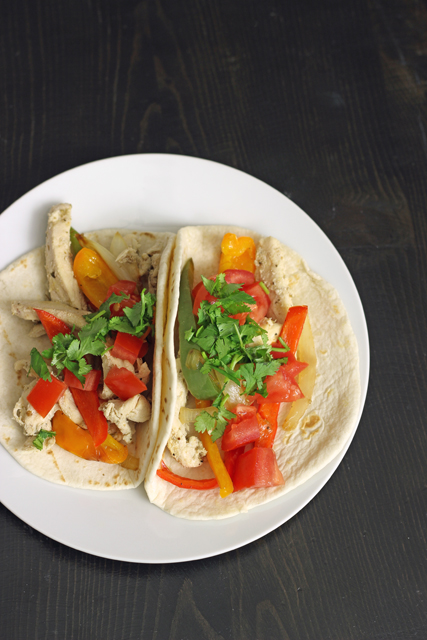 Two Easy Chicken Fajitas on a plate