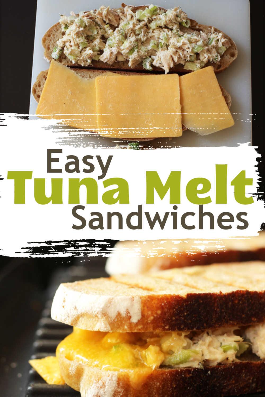 Assembling a tuna melt next to a cooked sandwich