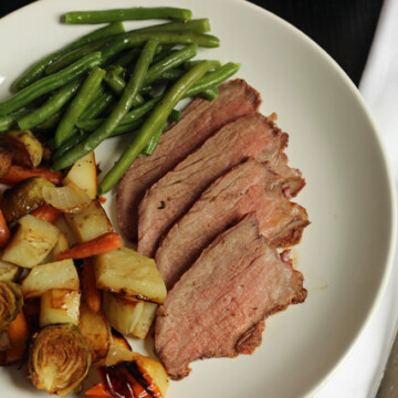 A plate of Tri-tip and vegetables