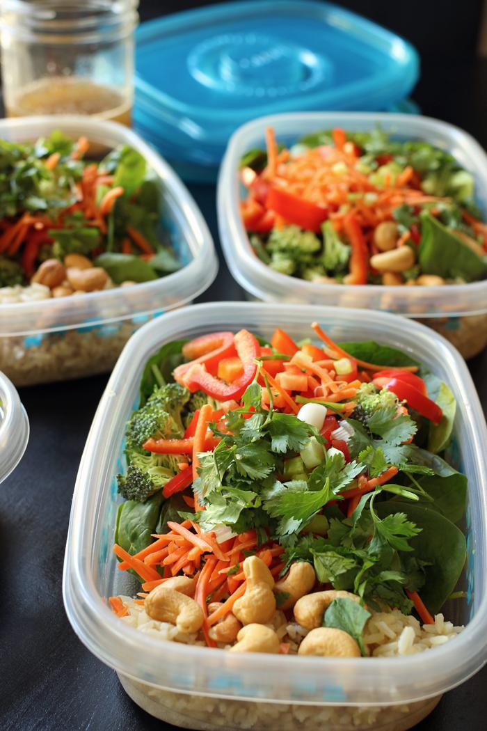 asian veg rice salad for meal prep