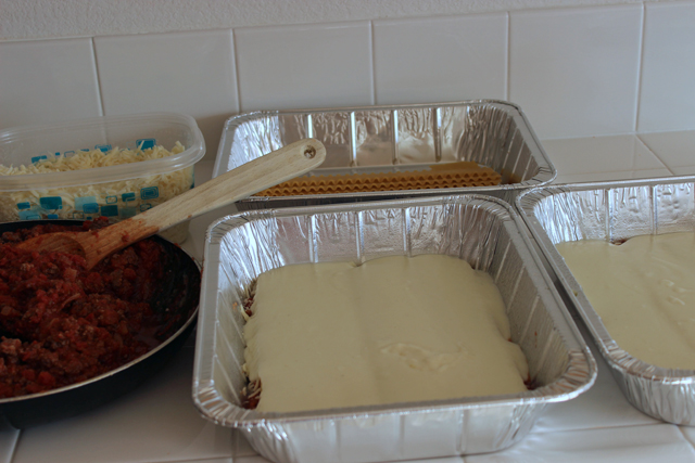 lasagna prepped with white sauce