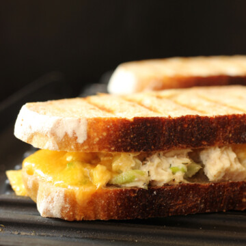side shot of tuna melt on panini press