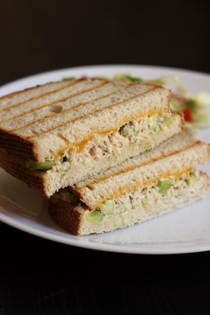 tuna melt stacked sandwich on plate