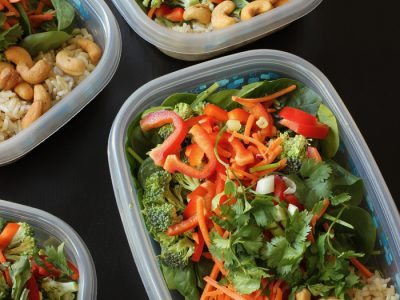 asian rice salads in meal prep boxes