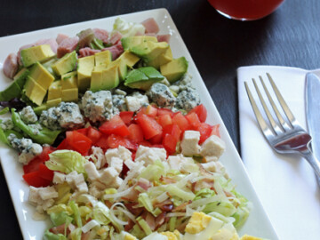 cobb salad on rectangular platter