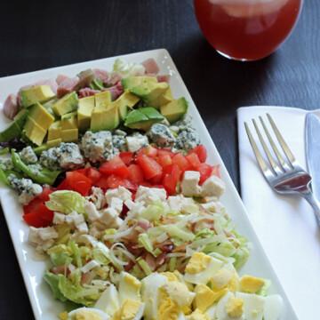cobb salad on rectangular platter