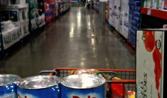 A Costco cart filled with lots of food
