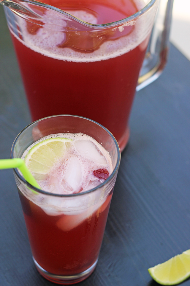 Pitcher of Cherry Limeade and glass