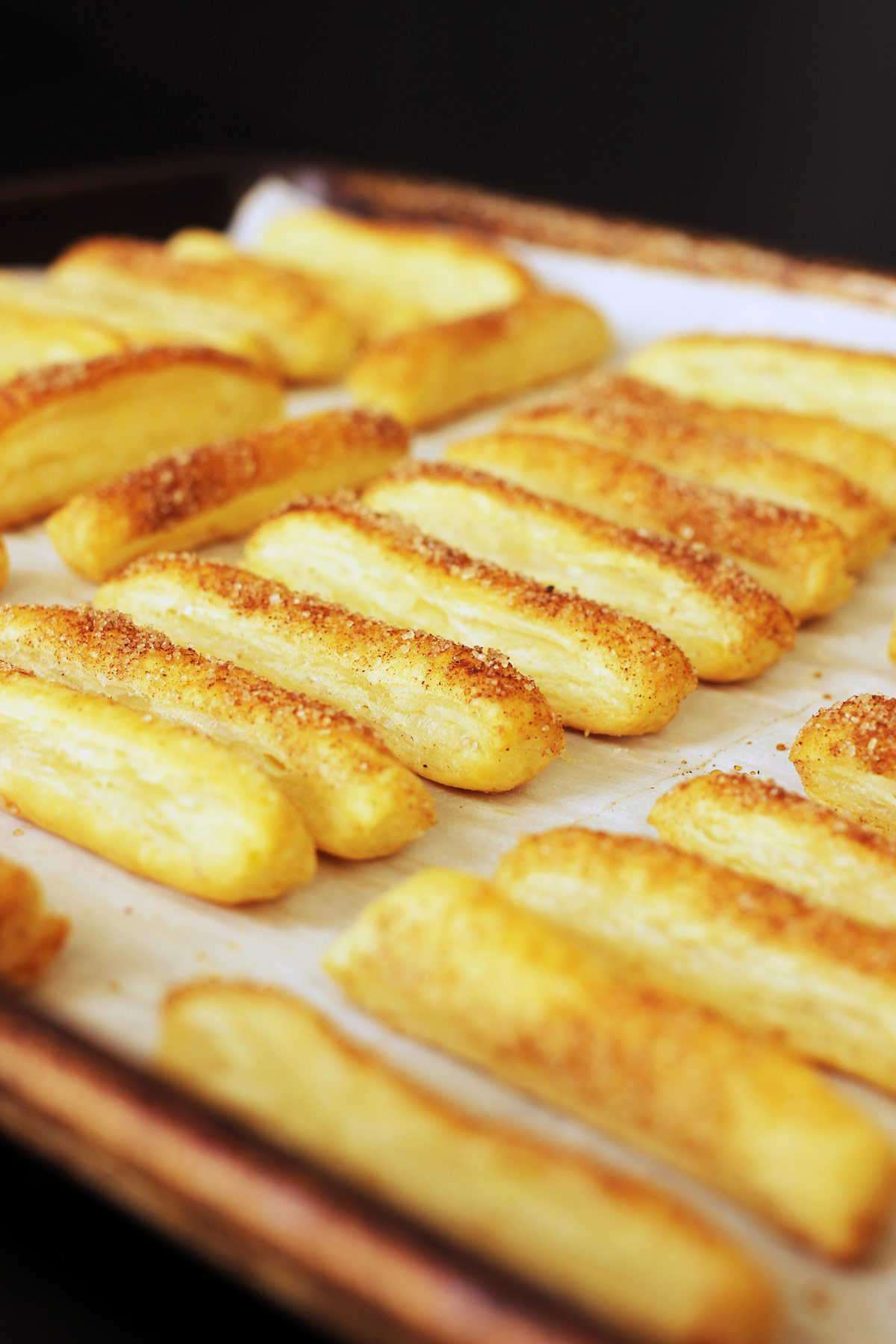 baked puffs on tray