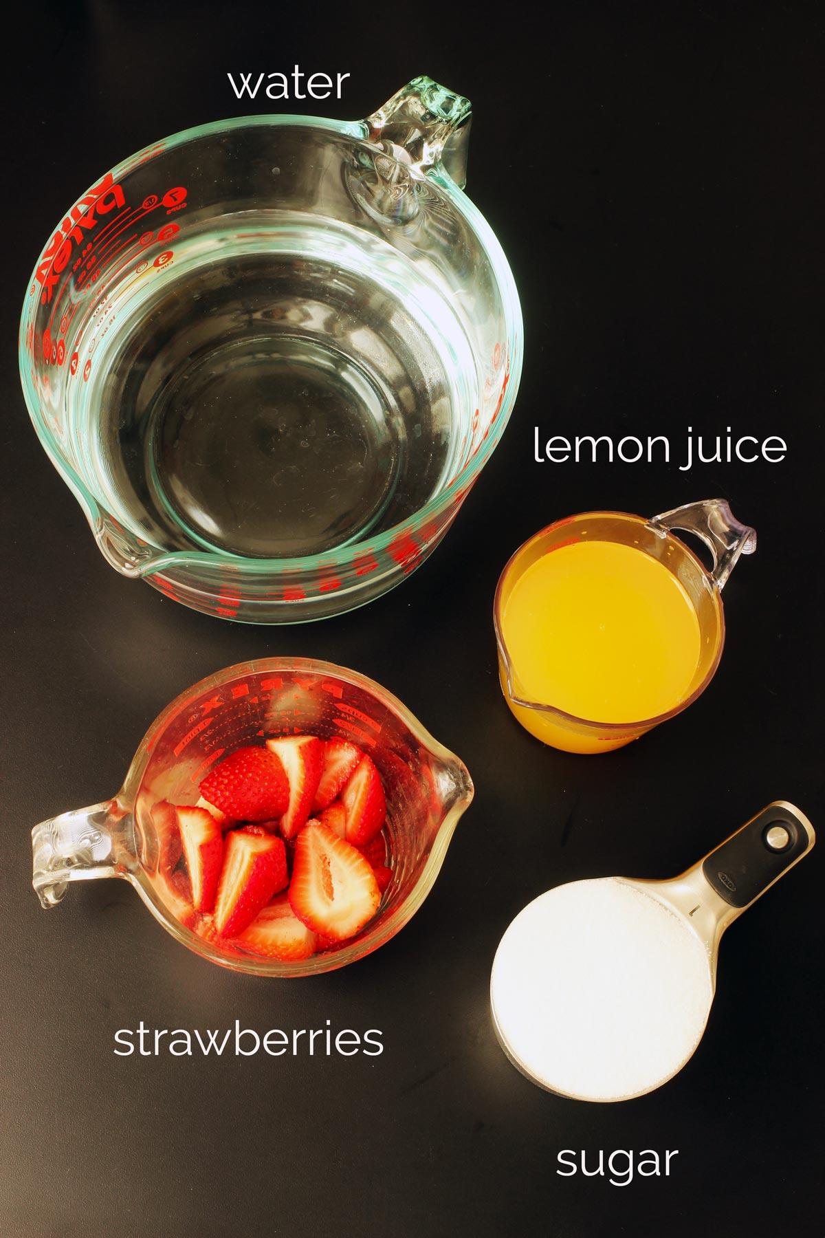 ingredients needed to make pink lemonade: strawberries, lemon juice, sugar, and water