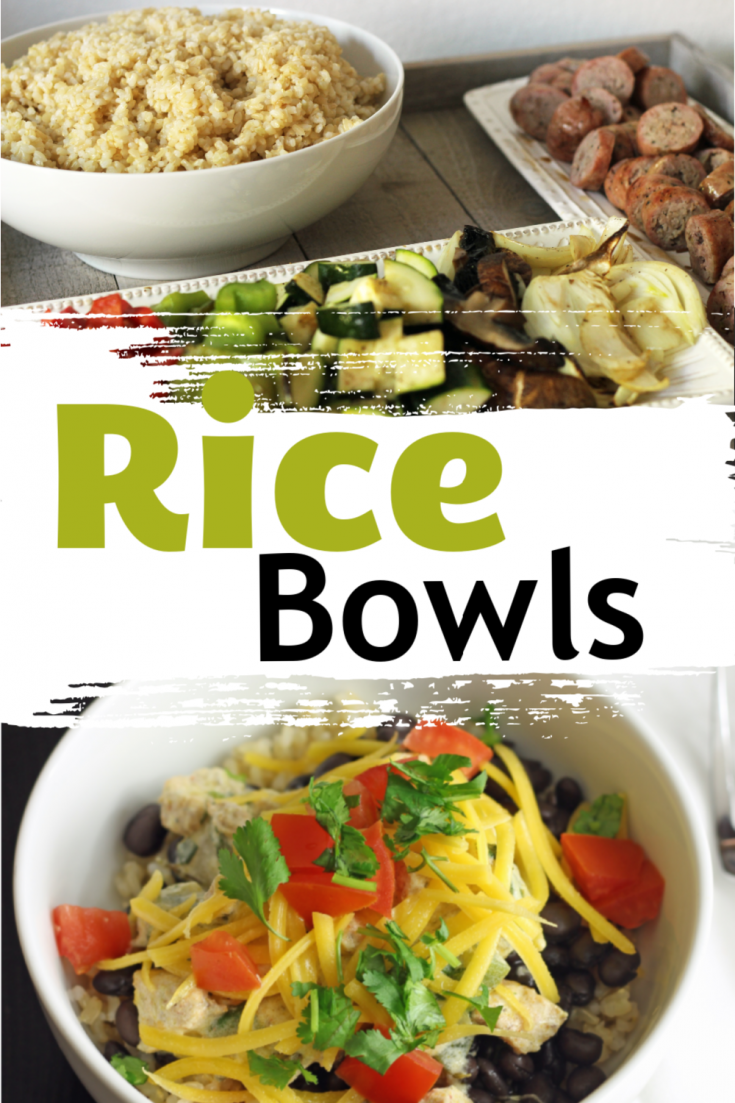 ingredients for rice bowls next to topped rice bowl