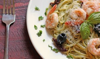 A plate of Pesto Shrimp Linguine Salad