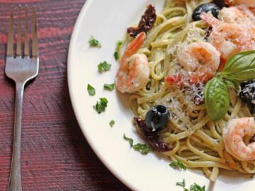 A plate of Pesto Shrimp Linguine Salad