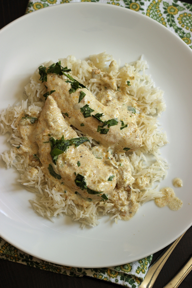 A plate of rice with creamy chicken salsa verde