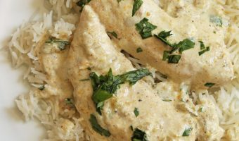 close up of creamy chicken on bed of rice