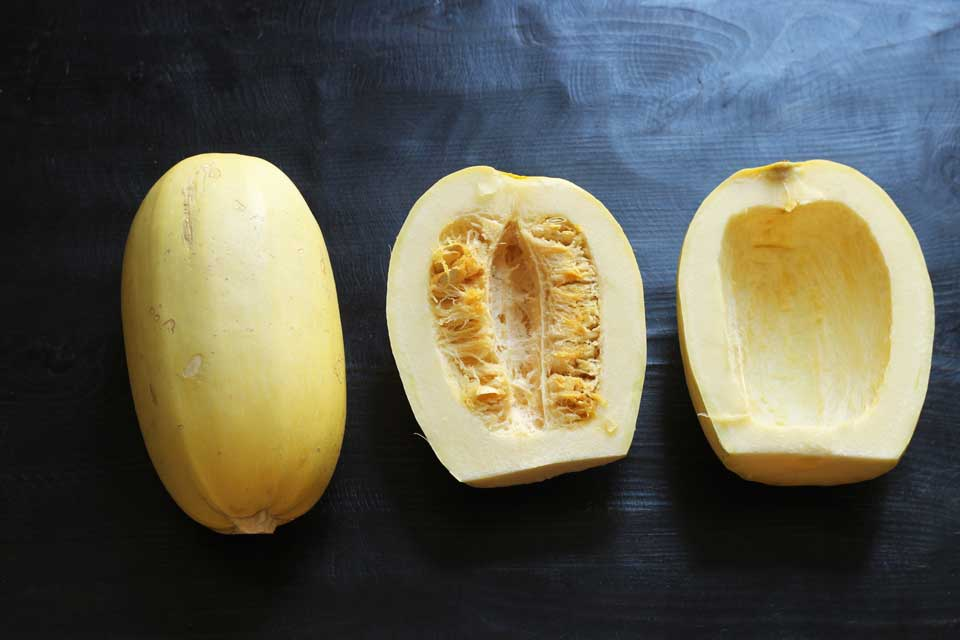 whole spaghetti squash and two halves