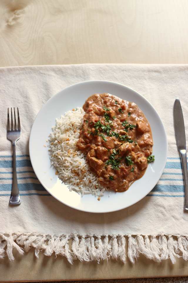 plate of rice with chicken tikka masala