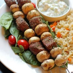 kabobs with greek spice blend seasoning on plate of food