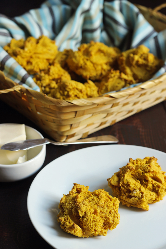 Pumpkin Drop Biscuits in a basket and two on a plate