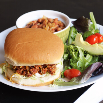 Sloppy Joe on plate with salad and beans