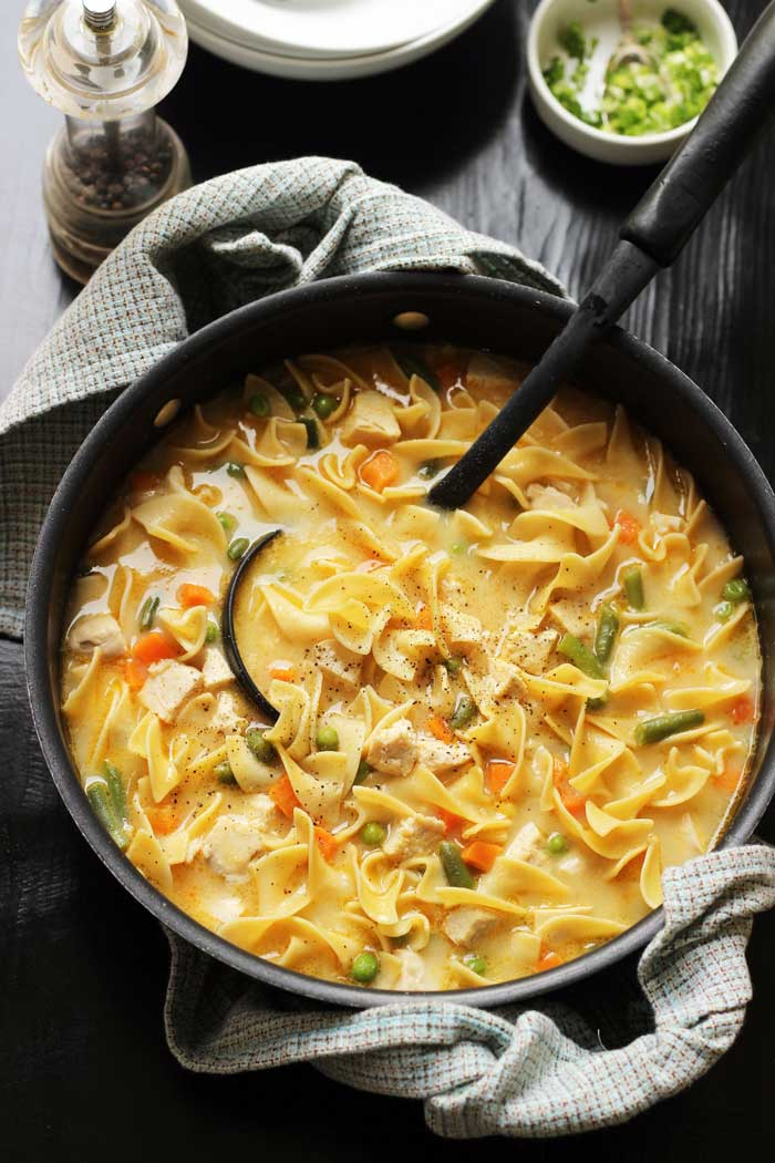 pot of creamy chicken noodle soup with ladle