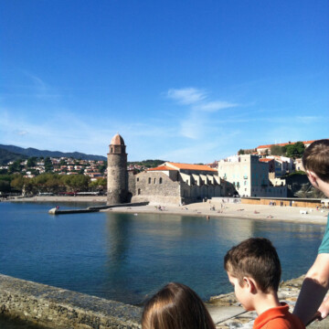 kids by bay in collioure france