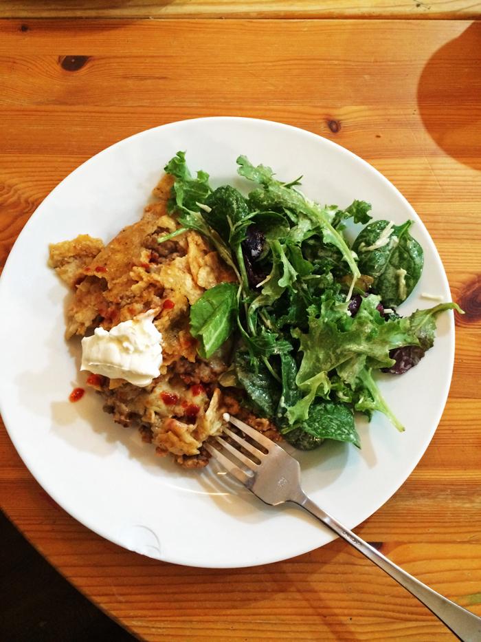 Lawnmower taco and salad