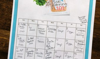 pantry challenge calendar on table
