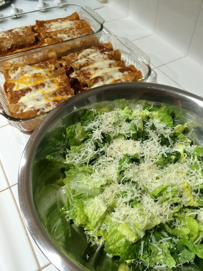 enchiladas and salad