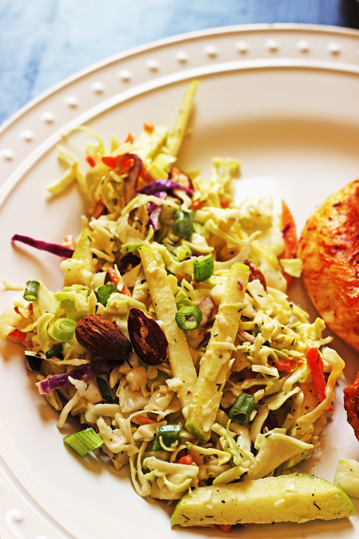 Cabbage Slaw with Apples and Almonds | Good Cheap Eats
