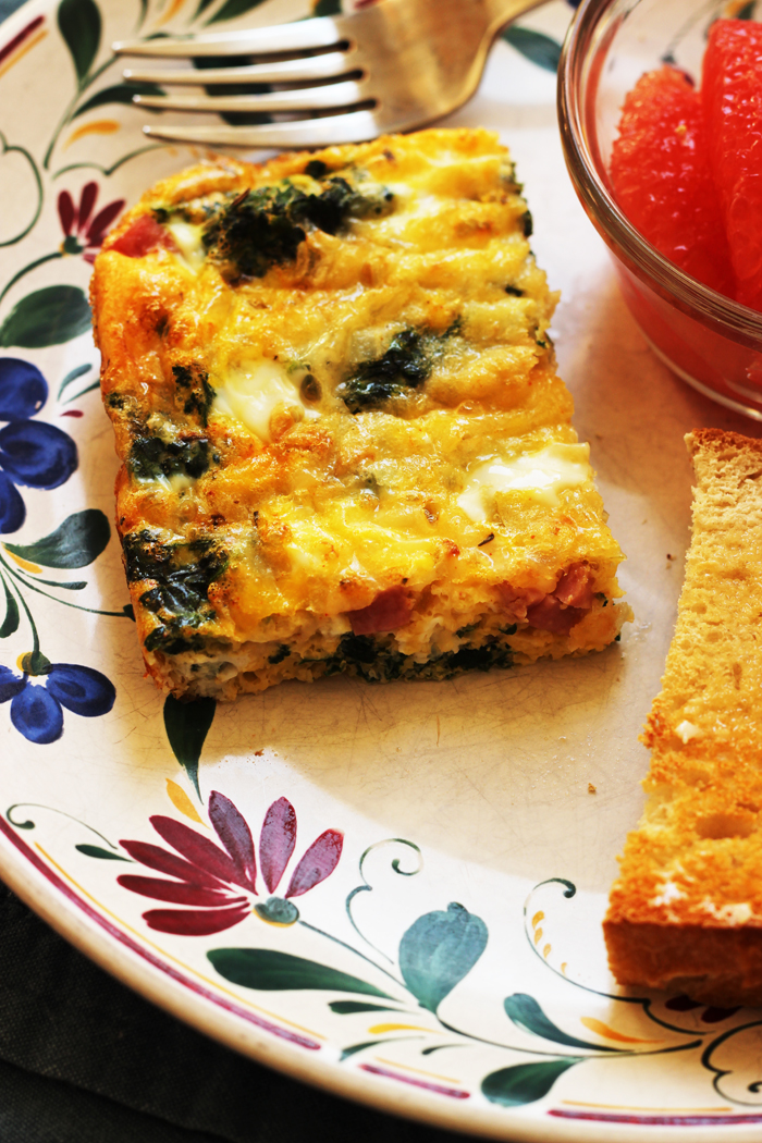 Egg Bake with Ham and Spinach | Good Cheap Eats